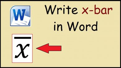 x bar in word